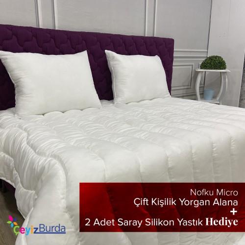Nofku Micro Çift Kişilik Yorgan + 2 Adet Saray Silikon Yastık
